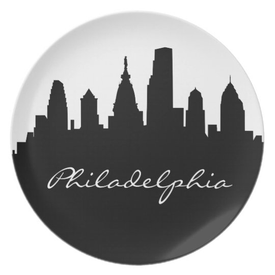 Black and White Philadelphia Skyline Plate
