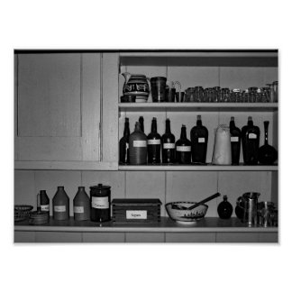 Black And White Photo Antique Bar Poster
