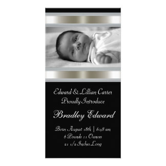 Black and White Photo Baby Birth Annoucements Photo Cards