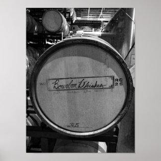 Black And White Photo Bourbon Whisky Barrel Poster