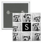 Black and White Photo Collage Custom Monogram Pinback Buttons
