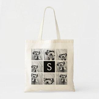 Black and White Photo Collage Custom Monogram Budget Tote Bag