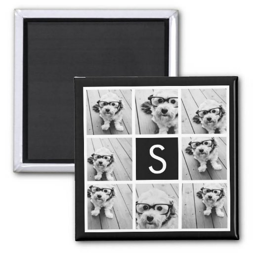 Black and White Photo Collage Custom Monogram Refrigerator Magnet