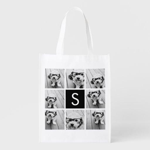 Black and White Photo Collage Custom Monogram Reusable Grocery Bag
