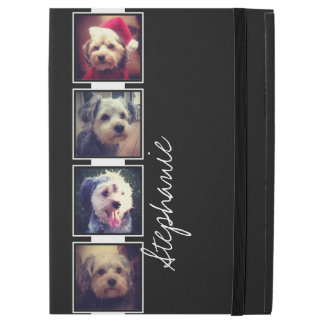 "Black and White Photo Collage Squares custom name iPad Pro 12.9"" Case"