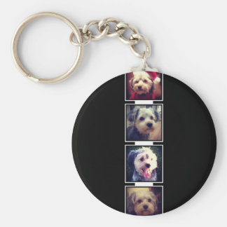 Black and White Photo Collage Squares Personalized Basic Round Button Key Ring