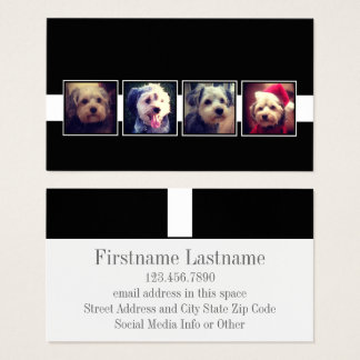 Black and White Photo Collage Squares Personalized Business Card