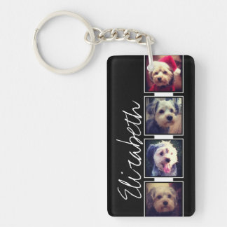 Black and White Photo Collage Squares Personalized Key Ring