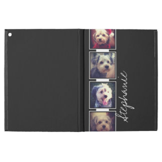 """Black and White Photo Collage Squares with name iPad Pro 12.9"""" Case"""