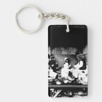 Black and white photo Double-Sided rectangular acrylic key ring