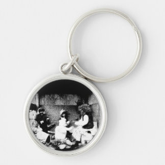 Black and white photo Silver-Colored round key ring