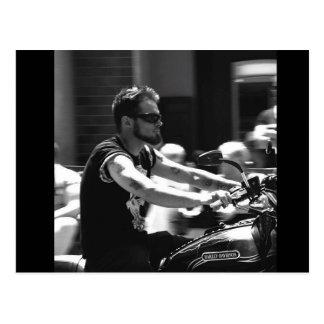 Black and White Photo Motocycle Ride Postcard