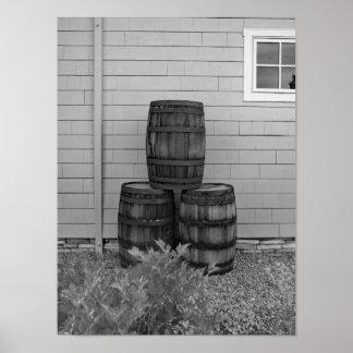 Black And White Photo Oak Barrels Poster