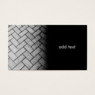 black and white photo of a brick walkway business card