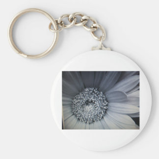 black and white photo of a flower key chains