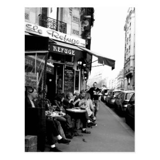 Black and White photo of Le Refuge Cafe in Paris Postcard