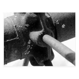 Black And White Photo of Rusty Machinery Postcard