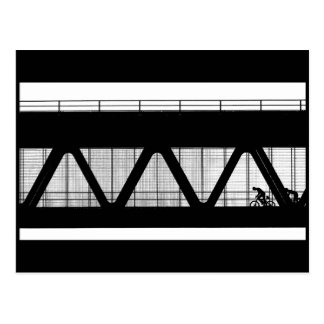 Black and white photograph bridge bikers postcard