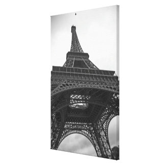 Black and white photograph of the Eiffel Tower Stretched Canvas Print