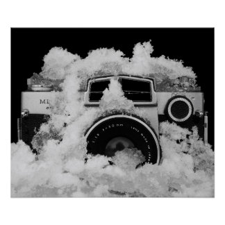 Black and White Photography Vintage Camera in Snow Poster