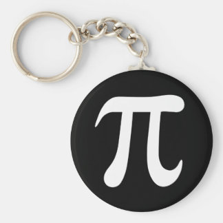 Black and white pi symbol keychain or keyring
