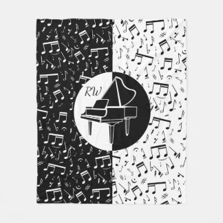 Black and white Piano design Fleece Blanket