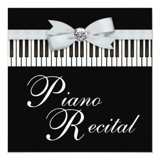 Black and White Piano Keys Recital Invitation