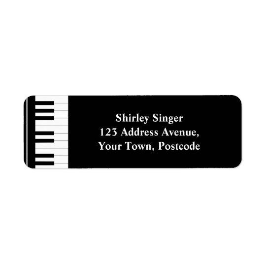 Black and white Piano keys Return Address Label