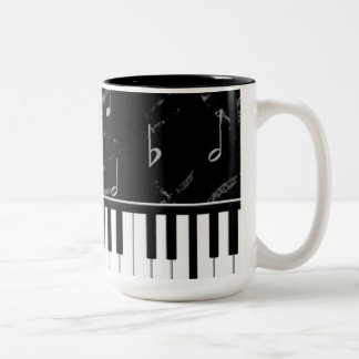 Black and White Piano Music Coffee Mug