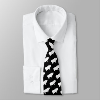 Black and White Pigs Bacon Lover Custom Color Tie