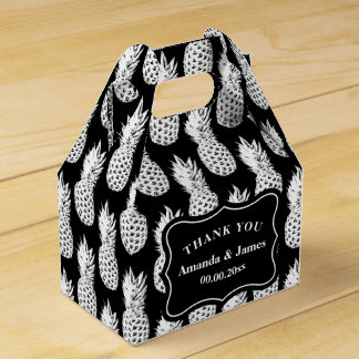 Black and white pineapple custom wedding party favour box