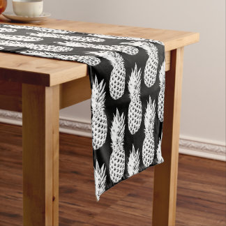 Black and white pineapple pattern table runner