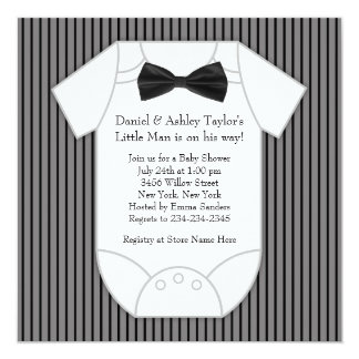Black and White Pinstripe Baby Shower Personalized Announcement