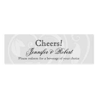 Black and White Pinstripe Wedding Drink Ticket Business Card Templates