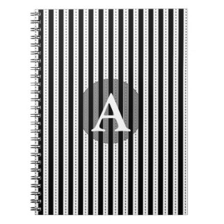Black and White Pinstripes Personalized Monogram Notebooks