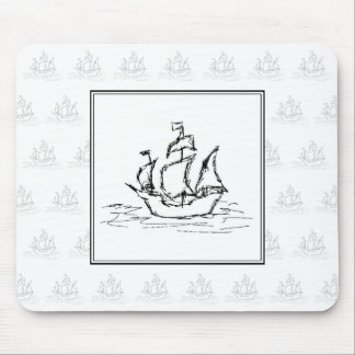 Black and White Pirate Ship. On ship pattern. Mouse Pad