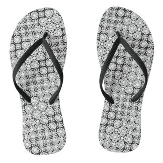 Black and White Pixel Lace Pattern Flip Flops Thongs