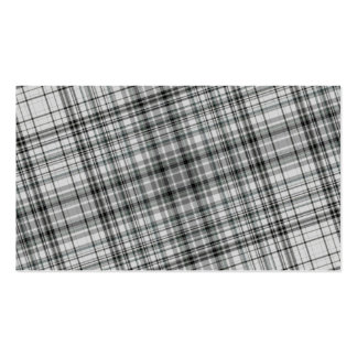 Black and White Plaid Background Business Card Templates