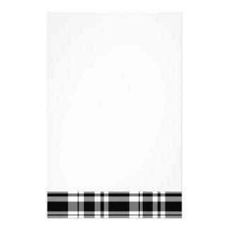 Black and white plaid custom stationery