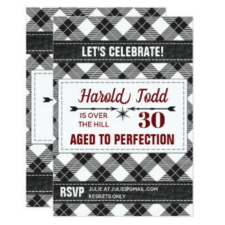 Black And White Plaid Over The Hill Card