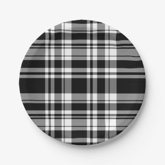 Black and White Plaid Paper Plate