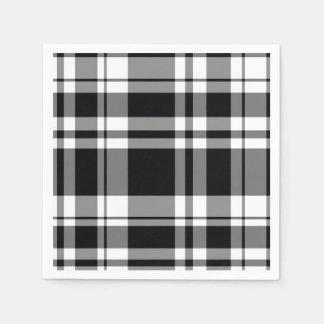 Black and White Plaid Paper Serviettes