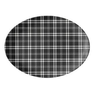 Black and White Plaid Porcelain Serving Platter