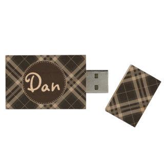 Black And White Plaids, Checks, Tartans Wood USB 2.0 Flash Drive