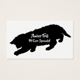 Black and White Playful Kitten Silhouettes Business Card
