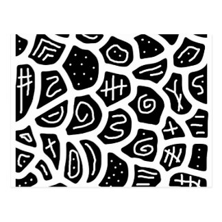 Black and white playful pattern postcard