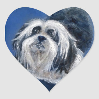 Black and White Playful Small Dog Heart Sticker