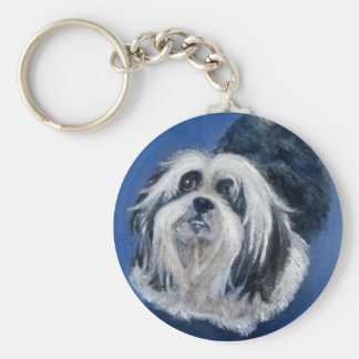 Black and White Playful Small Dog Key Ring