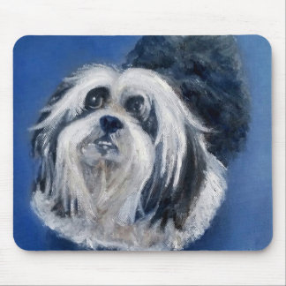 Black and White Playful Small Dog Mouse Pad