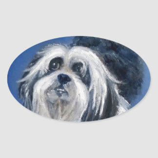 Black and White Playful Small Dog Oval Sticker